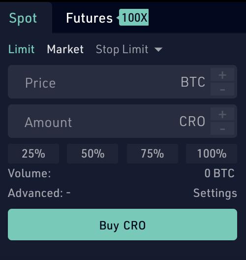 KuCoin Buy CRO From BTC