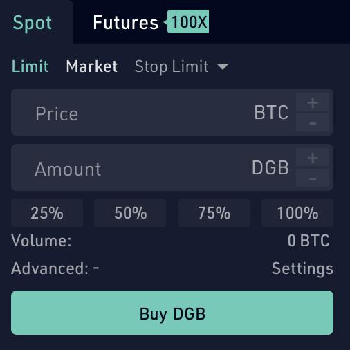 KuCoin Buy DGB From BTC