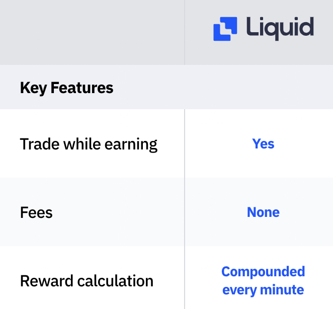 Liquid Earn Compounded Every Minute