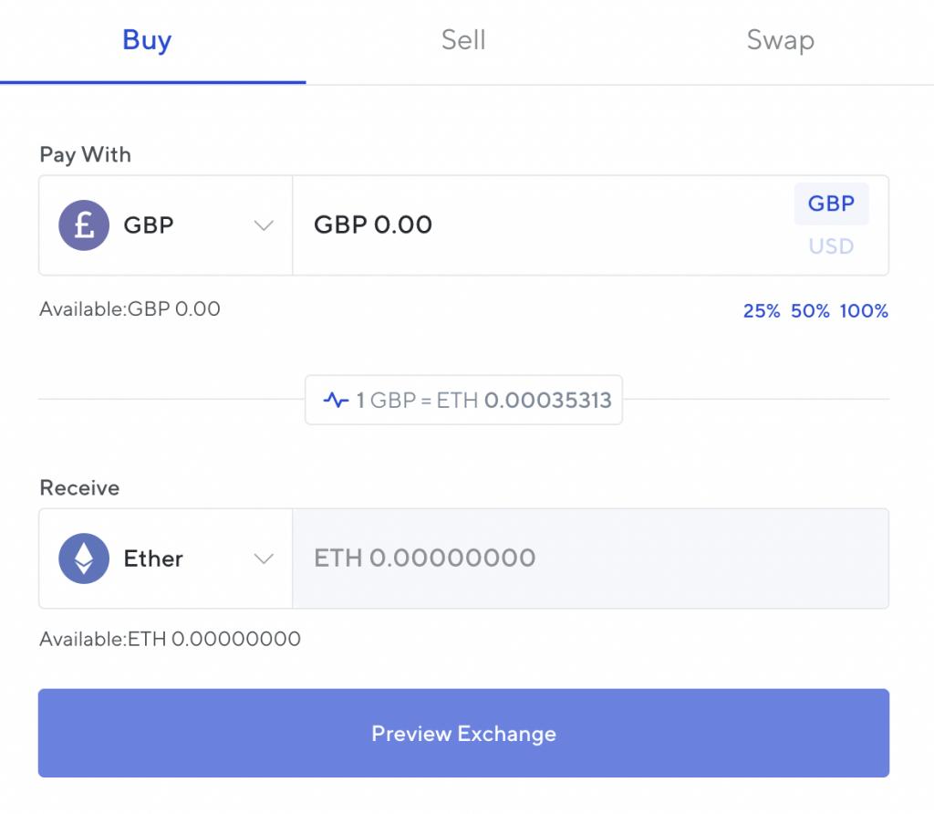 Nexo Exchange GBP To ETH