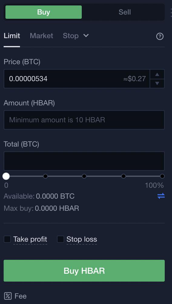 OKEX Buy HBAR From BTC