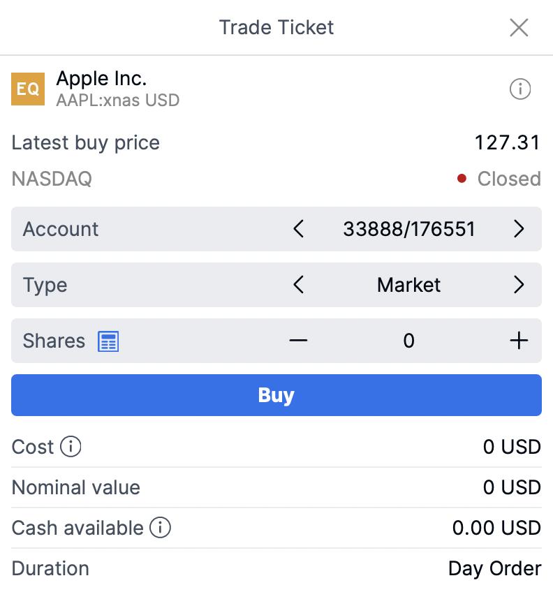 Saxo Apple Stock Order Page
