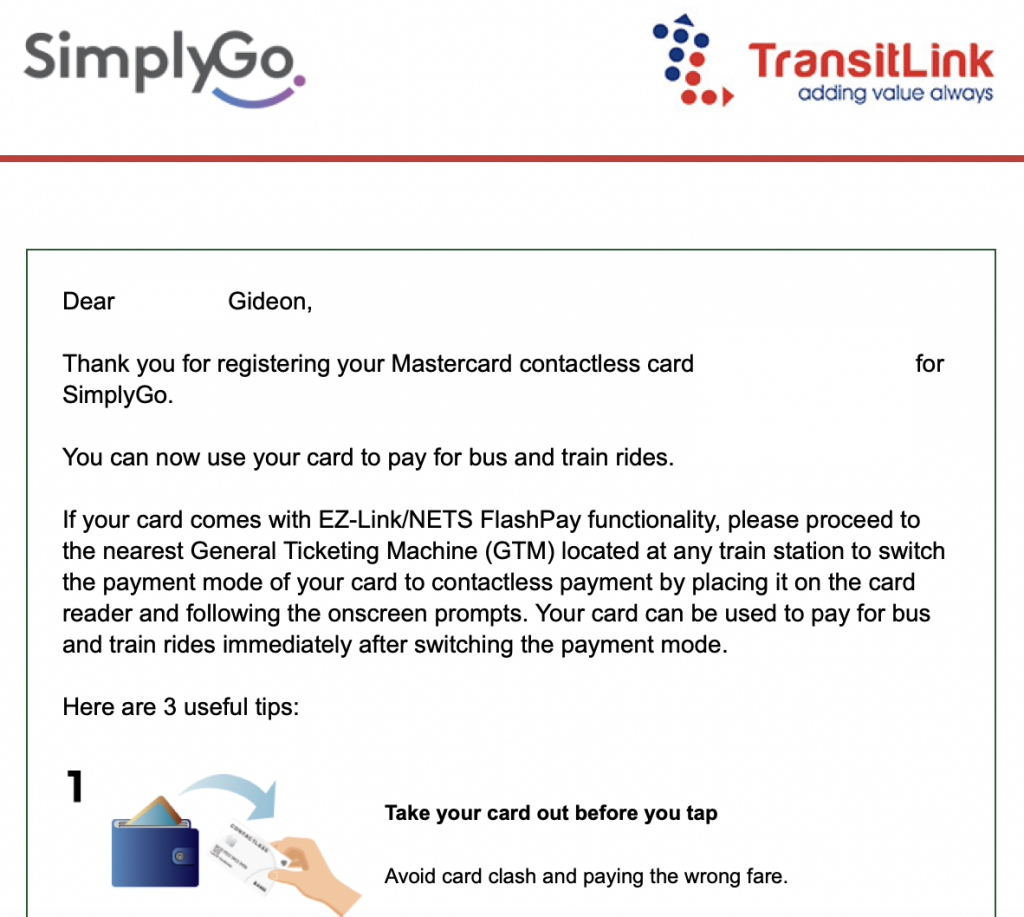 SimplyGo Confirmation Email