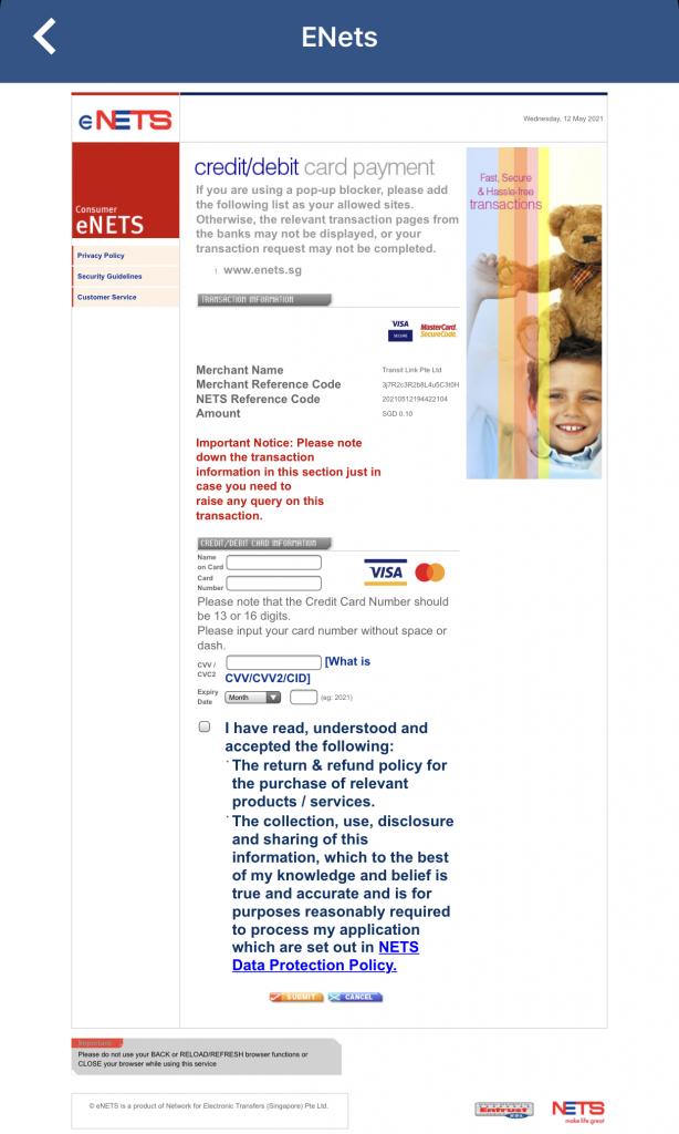 SimplyGo Enter Card Details