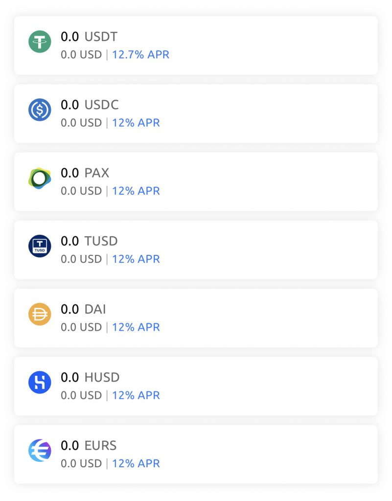 YouHodler Stablecoin Currencies