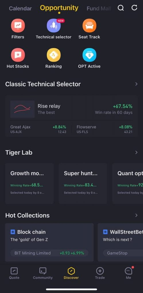 tiger brokers opportunity tab