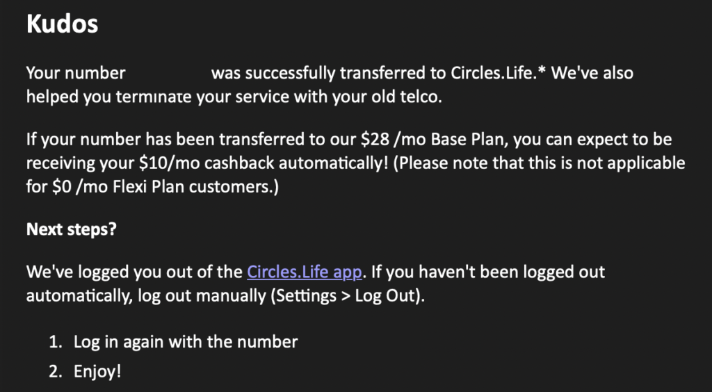Circles Life Successful Porting In Number Email