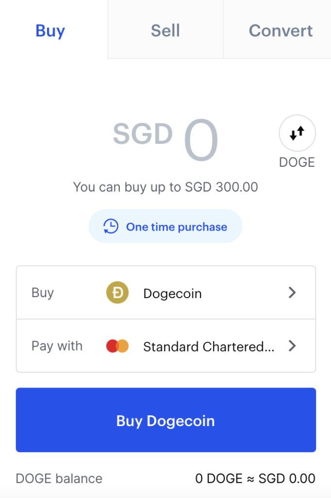 Coinbase Buy DOGE From SGD