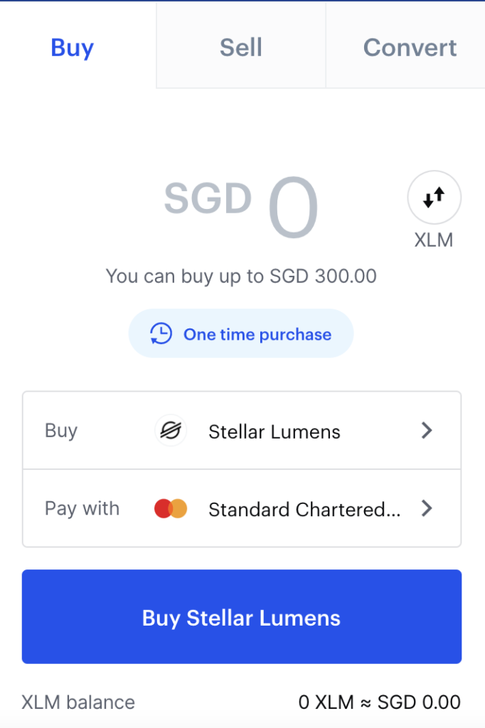 Coinbase Buy XLM From SGD