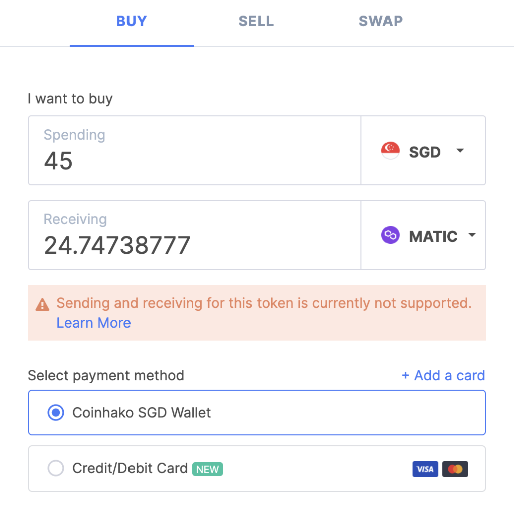 Coinhako Buy MATIC Page