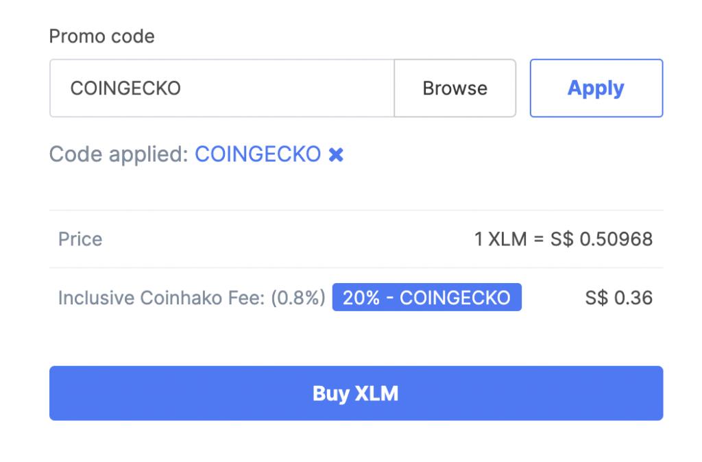 Coinhako Buy XLM Fee Coingecko Promo