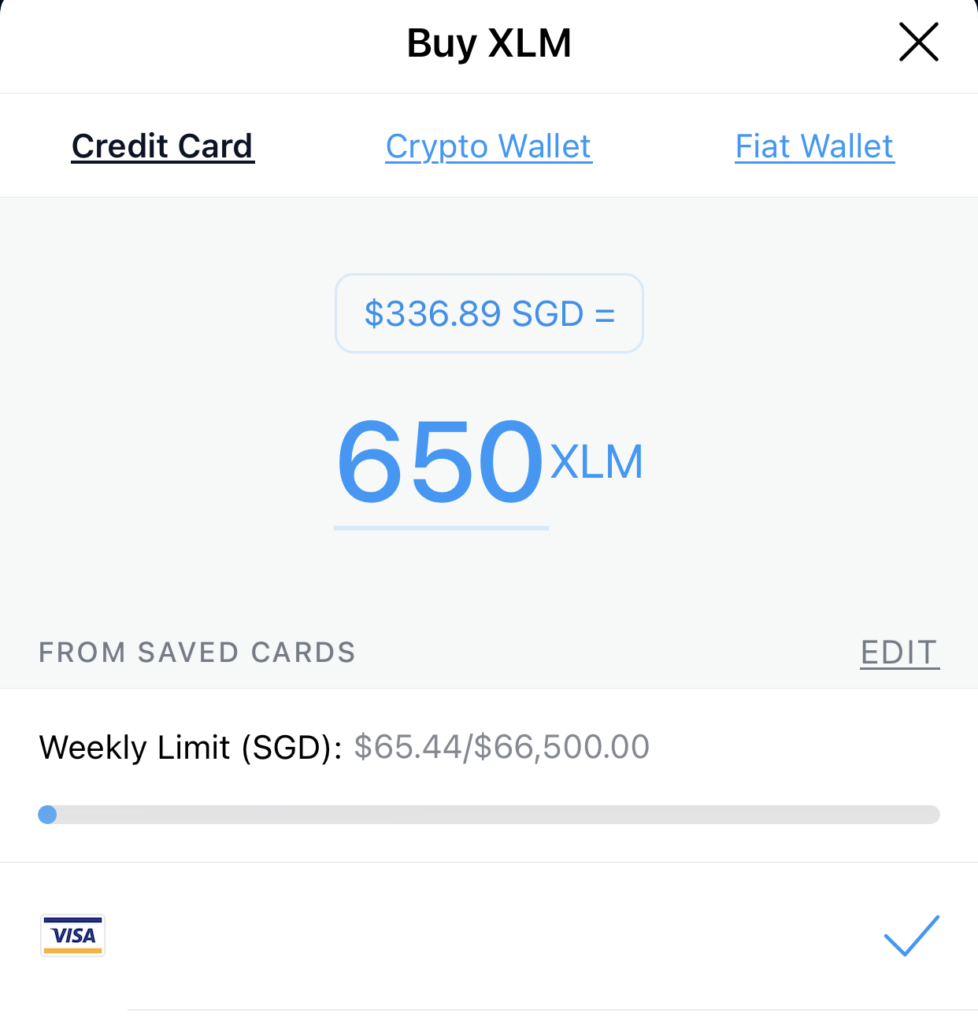 Crypto.com App Buy XLM From Credit Card