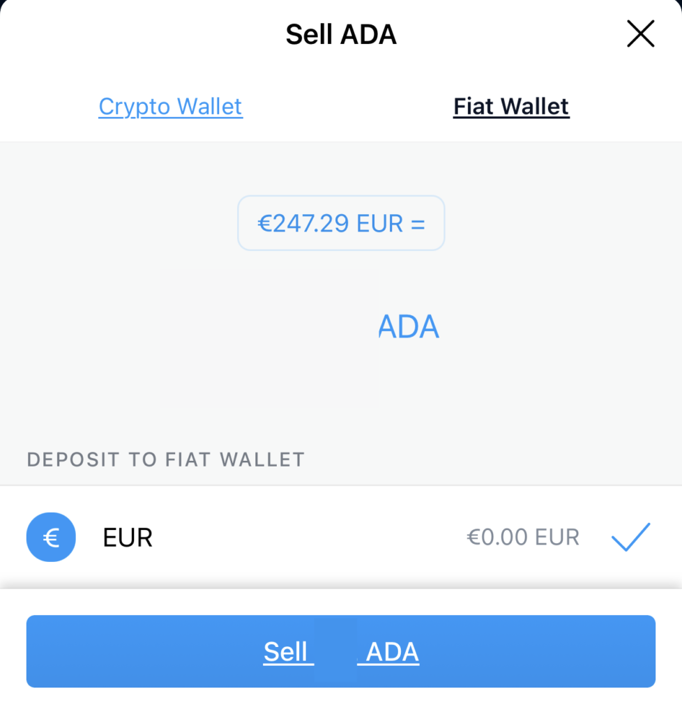 Crypto.com App Cannot Sell ADA To SGD Fiat Wallet
