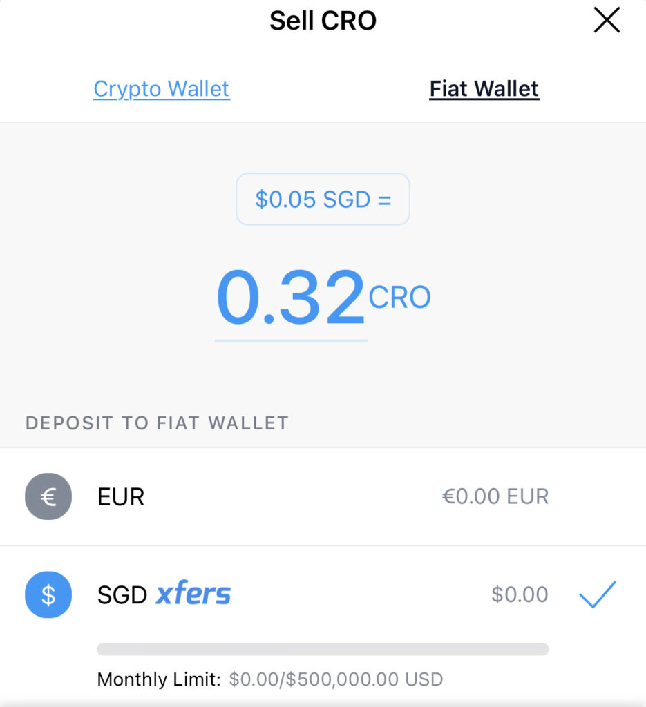 Crypto.com Sell CRO To Fiat Wallet Xfers