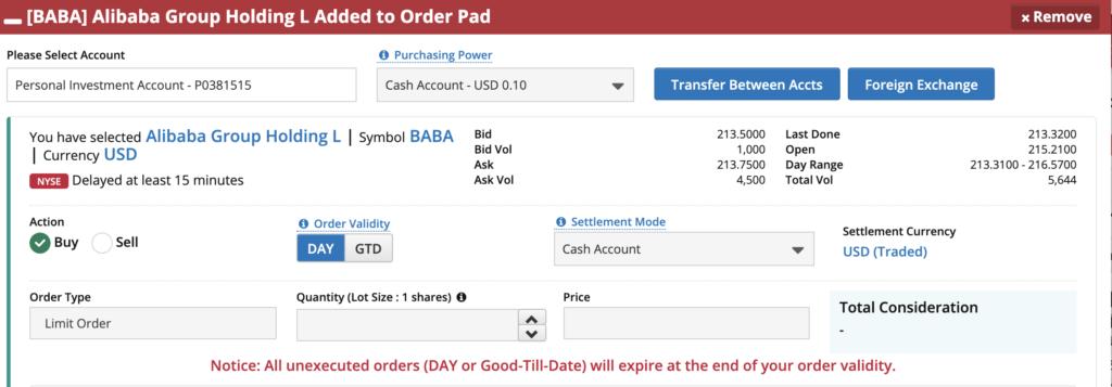 FSMOne Buy BABA Stock