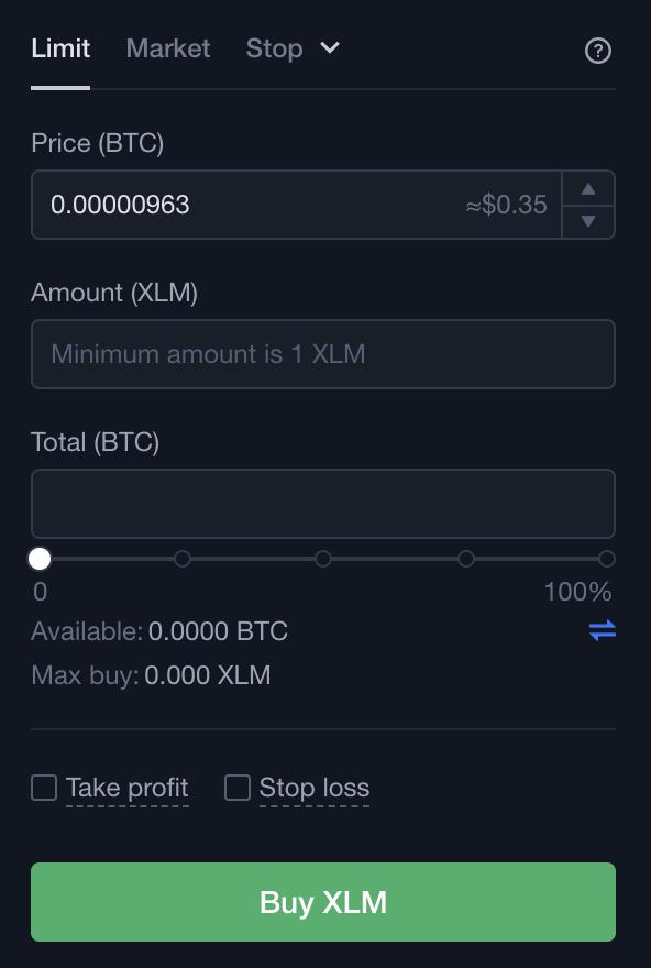 OKEx XLM Buy From BTC